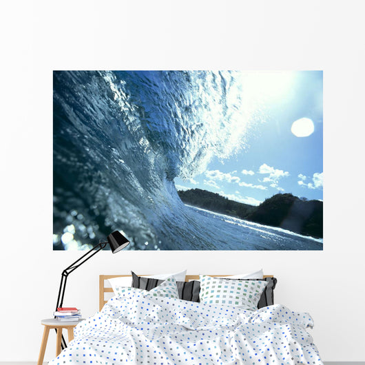 Translucent Curling Blue Wave Backlit Wall Mural