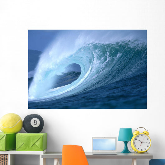 Large Aqua Wave, Curling, Spray And Whitewash, Blue Sky Wall Mural