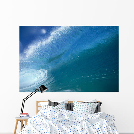 Front View Of Aqua Wave, Tube, Blue Sky, Glassy And Flat Wall Mural