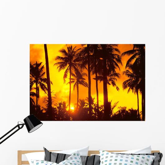 Palm Trees Silhouetted In Bright Orange Sky, Sunset Wall Mural