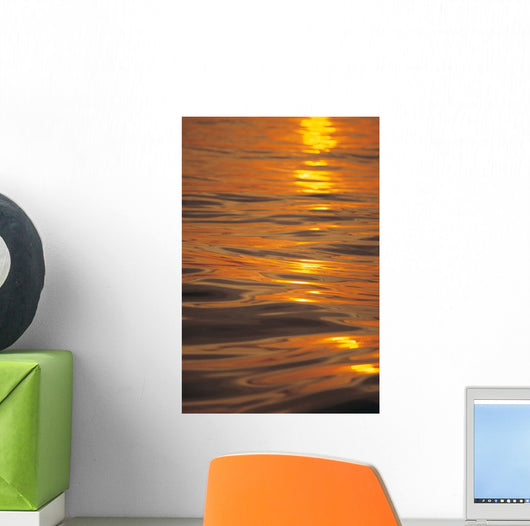 Sunset Orange And Gold Reflections On Smooth Ocean Surface Wall Mural