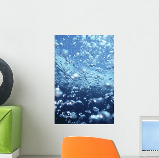 Underwater View Of Air Bubbles Near Surface Wall Mural