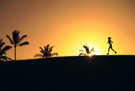 Woman In Distance, Silhouetted Running At Sunset, Palm Trees Wall Mural