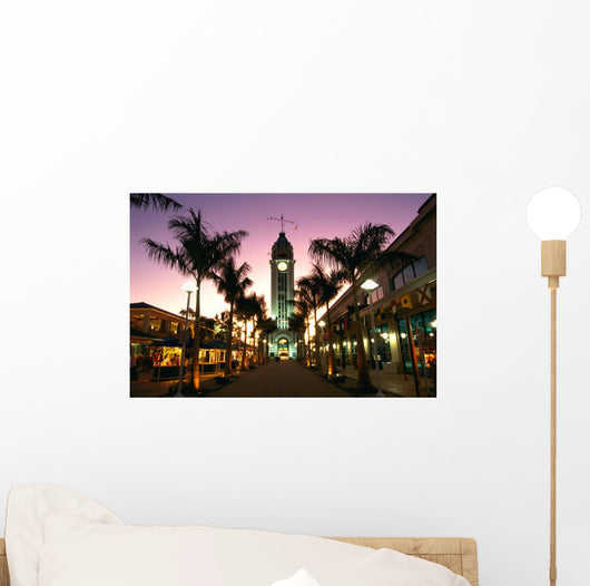 Hawaii, Oahu, View Of Aloha Tower Marketplace At Dusk, Pink Sky Wall Mural
