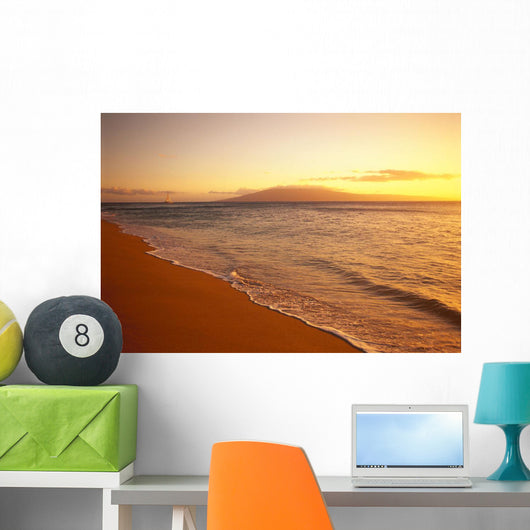 Hawaii, Maui, Hazy Orange Sunset Over Ka'anapali Beach, Gentle Waves Wall Mural