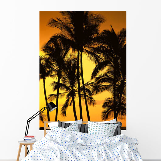 Hawaii, Big Island, View Of Palm Trees Silhouetted By Fiery Sunset Wall Mural