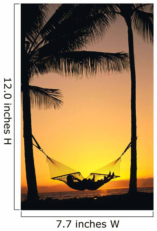 Silhouetted Couple Laying In Hammock On Beach At Sunset, Palm Trees Wall Mural
