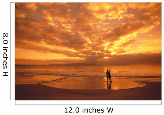 Couple Silhouetted On The Beach During Sunset Wall Mural