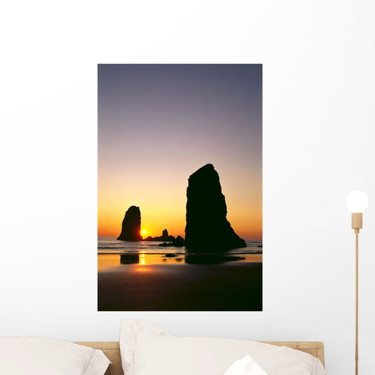 Oregon, Cannon Beach, Sea Stacks At Sunset Wall Mural