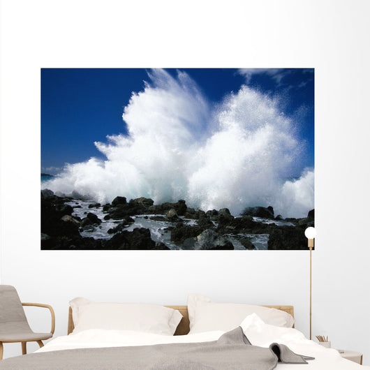Hawaii, Maui, Makena Coast, Surf Crashing Along Lava Rock Shoreline Wall Mural
