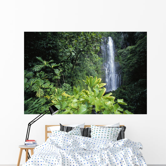 Hawaii, Maui, Hana, Wailea Falls, Distance Surrounded By Lush Greenery Wall Mural