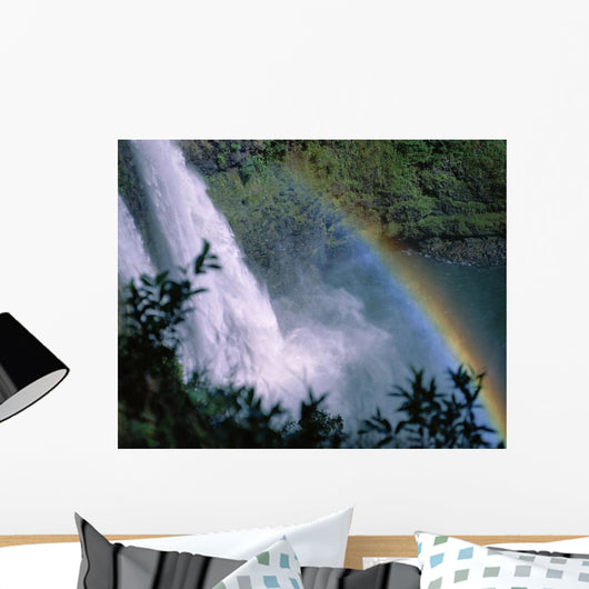 View Looking Down Wailua Falls With Rainbow Arching Across Into Water Wall Mural