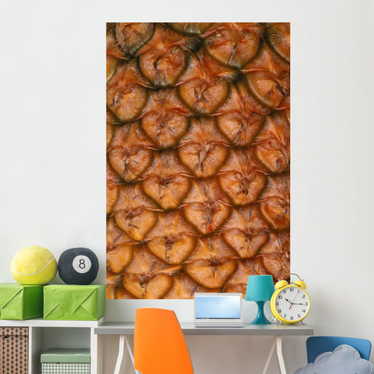 Extreme Close-Up Of Single Pineapple Fruit Skin, Detail Wall Mural
