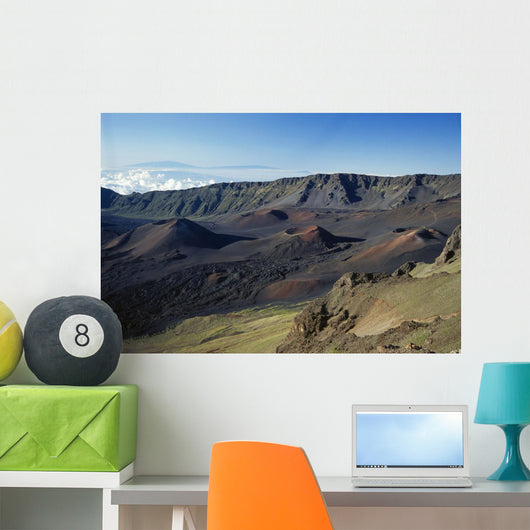 Hawaii, Maui, Overview Of Haleakala Crater, Trails Red Dirt, Blue Sky Wall Mural
