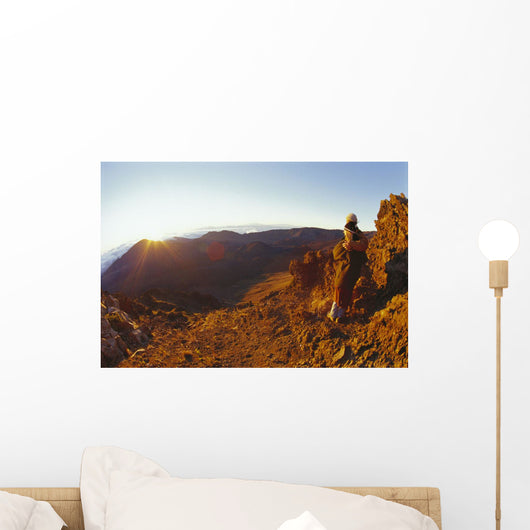 Couple Embrace At Summit Watch Sunrise Stand Wall Mural