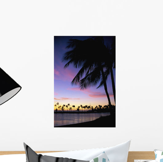 Palms At Sunset Colorful Tropical Scene Pink Clouds Golden Sky Wall Mural