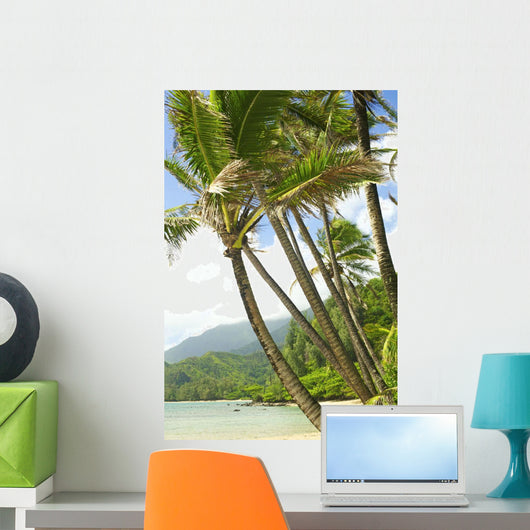 Hawaii, Kauai, North Shore, Coconut Palm Trees Along Coastline Wall Mural