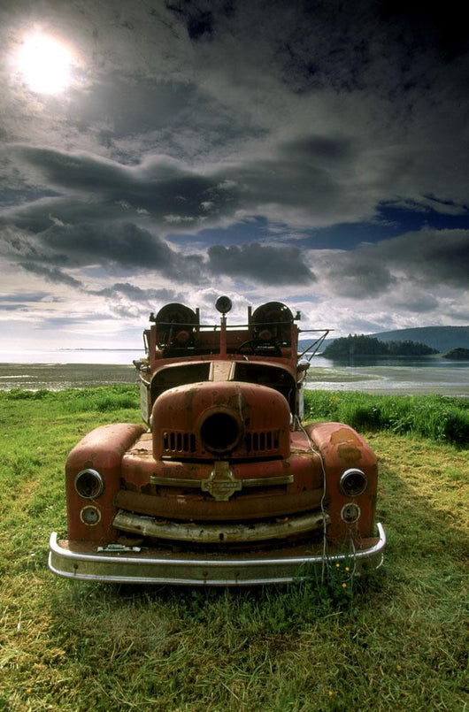 Old Fire Truck, Queen Charlotte Islands, British Columbia, Canada Wall Mural