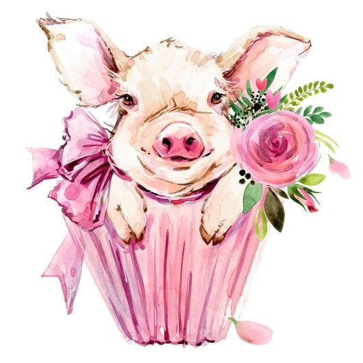 Cute Pig Watercolor Illustration Wall Decal Wallmonkeys Com