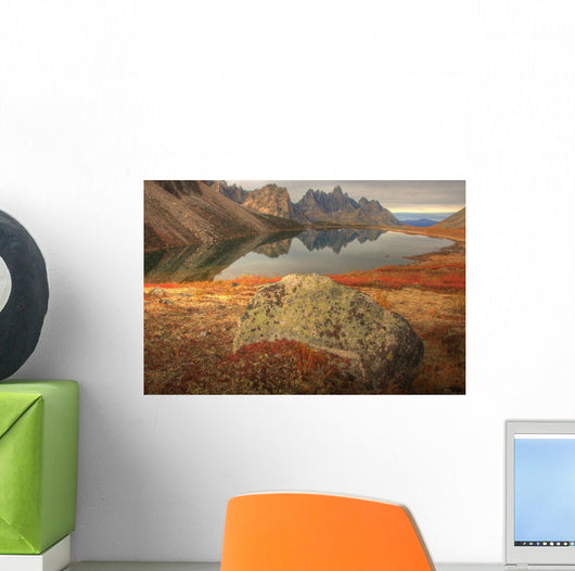 Tombstone Mountain Reflected In Talus Lake In Autumn Wall Mural