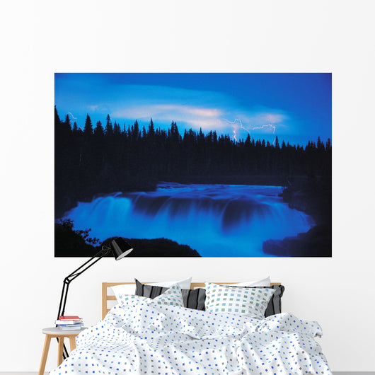 Lightning Over Pisew Falls, Manitoba Wall Mural