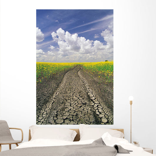 Dried Up Machinery Tracks Through Canola Field Wall Mural