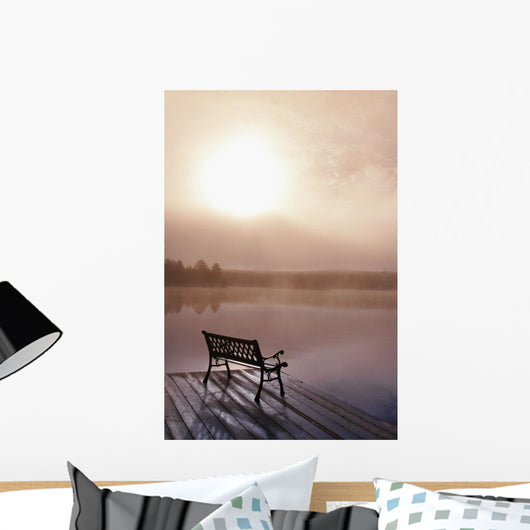 Dock In Morning Fog, Oxtongue Lake, Dwight, Ontario, Canada Wall Mural