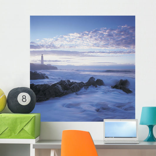 Waves And Cap Des Rosiers Lighthouse At Dusk Wall Mural