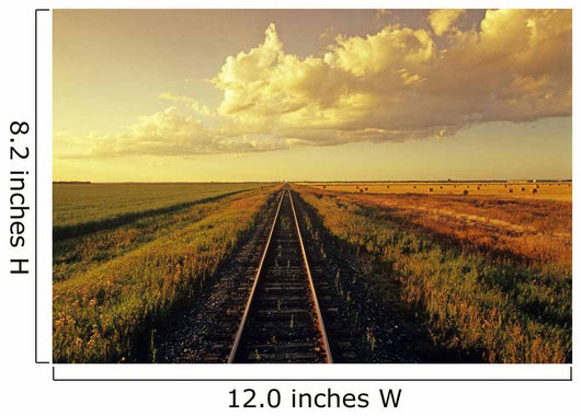 Railway Through Farmland, Near Carey, Manitoba Wall Mural