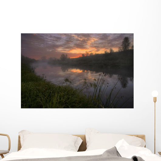 Early Morning On A Fog Covered Sturgeon River During The Summer Wall Mural