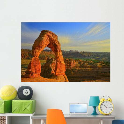 Whispy Clouds Over Delicate Arch, Arches National Park, Moab, Utah Wall Mural