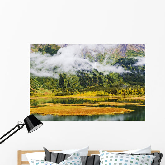 Tern Lake, Fog And Fall Colours, Alaska Wall Mural