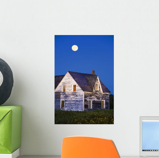 Abandoned House And Moon At Dusk, Perce, Gaspesie, Quebec Wall Mural