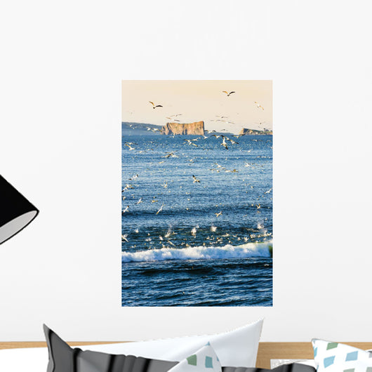 Gannets In Flight And Perce Rock At Sunrise From Barachois Wall Mural