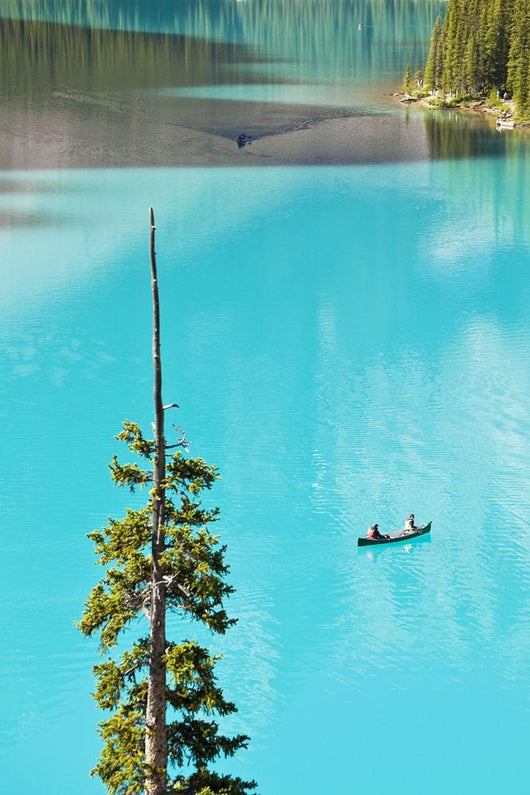 Canoeing On Turquoise Water Of Moraine Lake Wall Mural