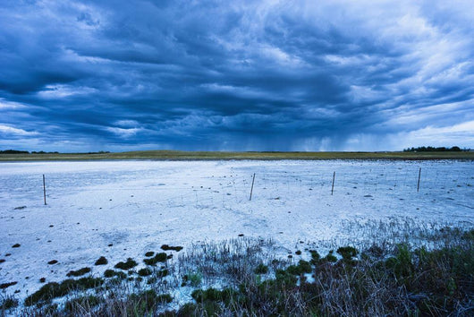Dry Salt Lake And Clouds At Dusk Near Mortlach, Saskatchewan Wall Mural