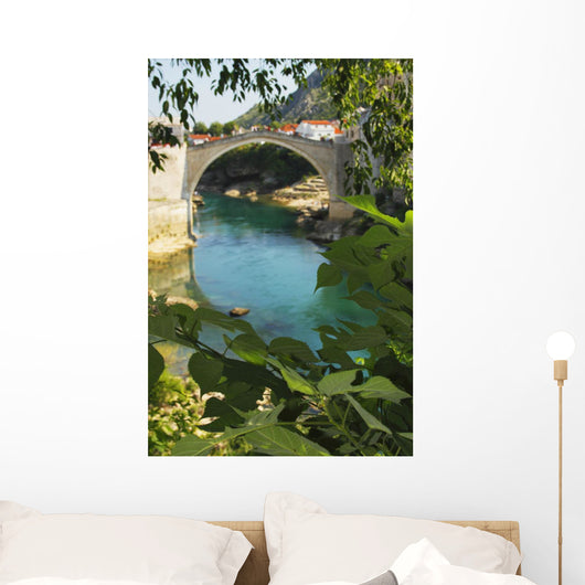 Stari Most Or Old Town Bridge Over The River Neretva Wall Mural