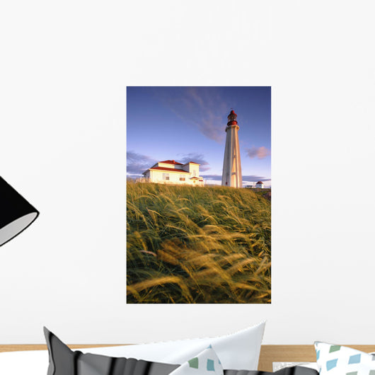 Lighthouse At Sunset, Bas-Saint-Laurent Region, Pointe-Au-Pere, Quebec Wall Mural
