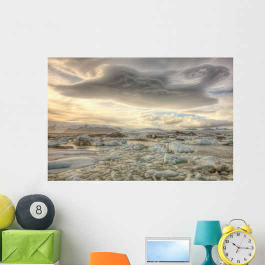Lenticular Clouds Over The Ice Lagoon Of Jokulsarlon, Iceland Wall Mural
