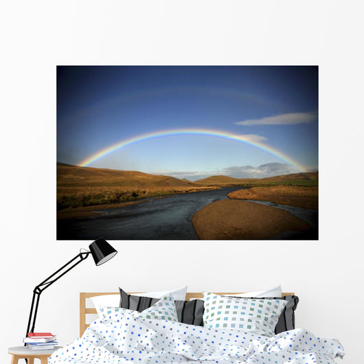 Double Rainbow Over A Stream, Northern Iceland Wall Mural