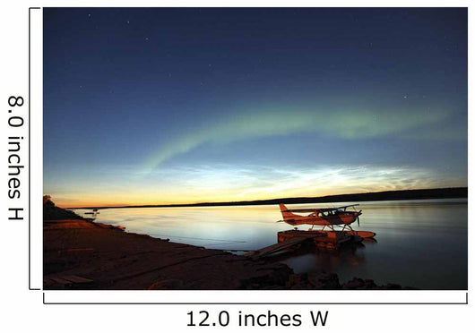 Aurora Borealis Over The Mackenzie River With Float Planes Wall Mural