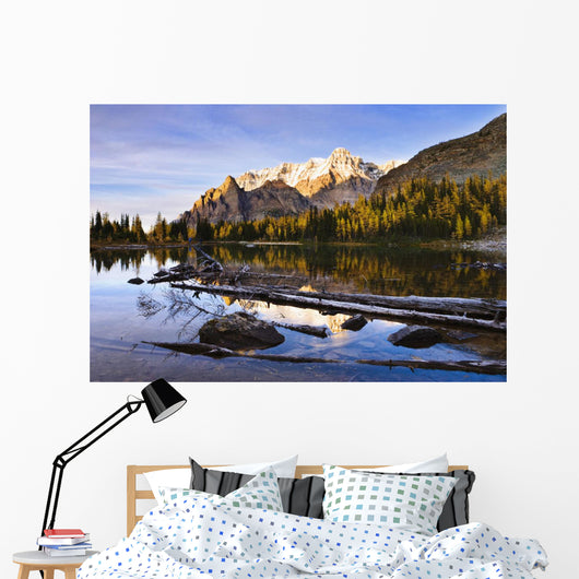 Schaffer Lake And Mount Huber At Sunset Wall Mural
