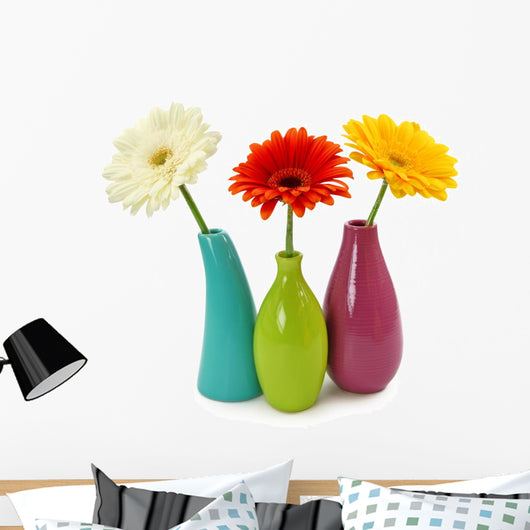 Flowers in Vases Isolated on White Background Wall Decal