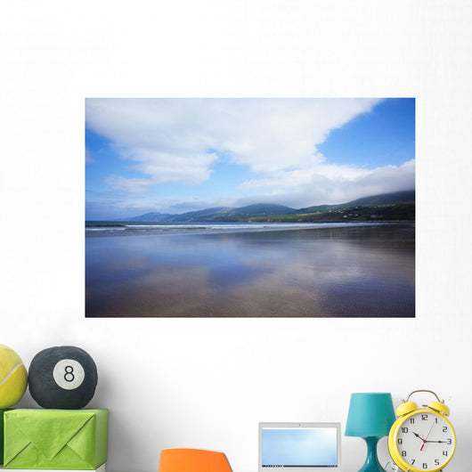 Clouds Reflected On The Wet Sand Of Inch Beach In Dingle Wall Mural