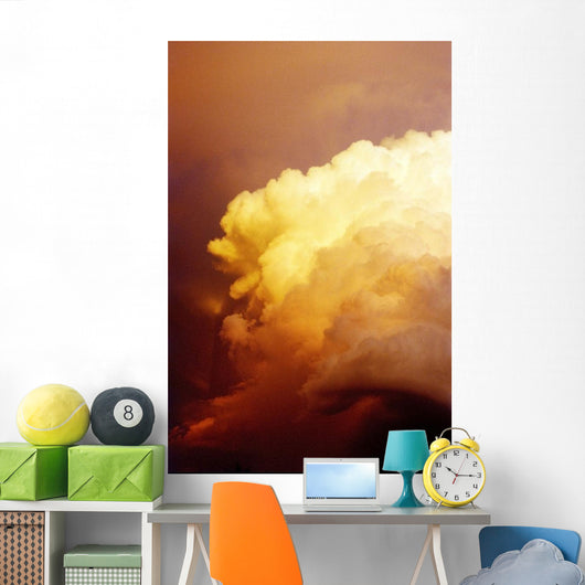 Large Yellow Sunset Storm Cloud Wall Mural