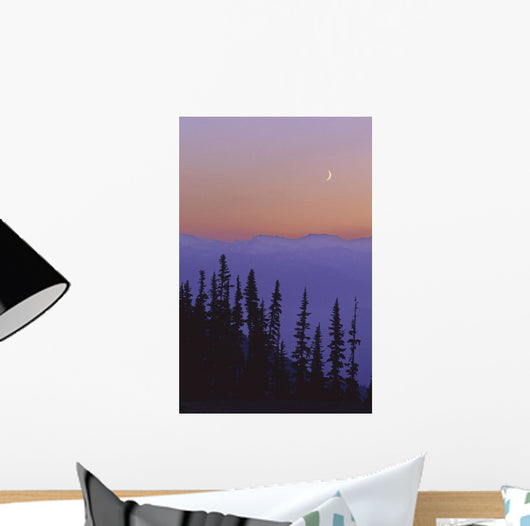 Crescent Moon Rises In Sunset Over Mountains, Whistler, Bc Canada Wall Mural
