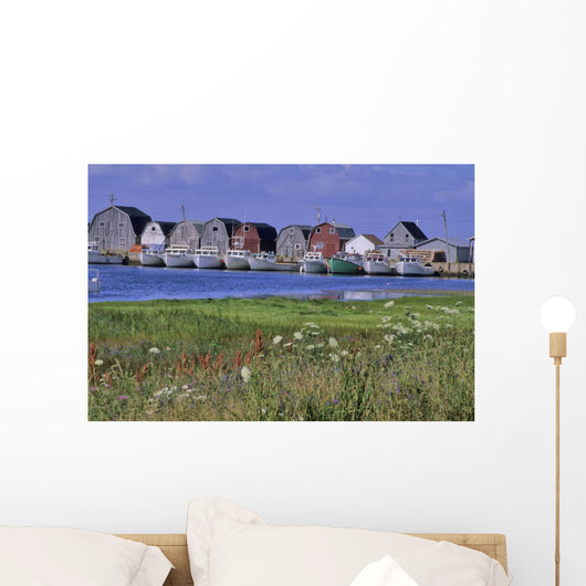Fishing Shacks Line The Bay At Malpeque Harbour, Pei Wall Mural