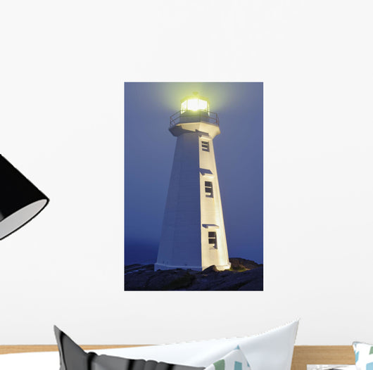 View Of Cape Spear Lighthouse In Fog At Twilight Wall Mural