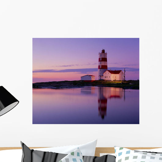 Pointe Des Monts Lighthouse At Dawn, Manicouagan Region, Quebec Wall Mural
