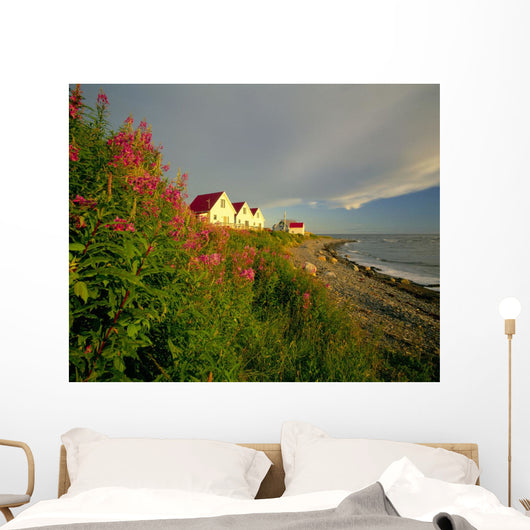 Cottages On St Lawrence River, Petit Vallee, Gaspesie, Quebec Wall Mural